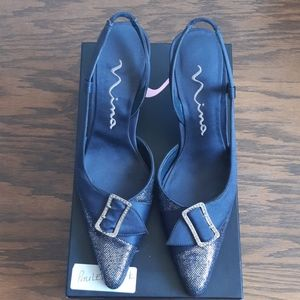Nina Metal Grey slingbacks
